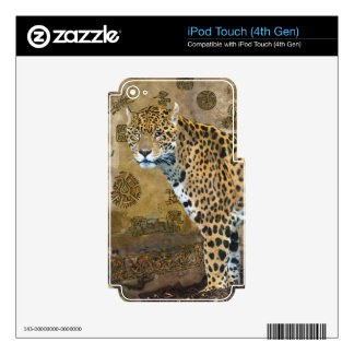 Spotted Jaguar & Mayan Temple Wildlife Skin Decals For iPod Touch 4G