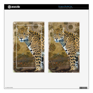 Spotted Jaguar & Mayan Temple Wildlife Skin Decals For Kindle Fire