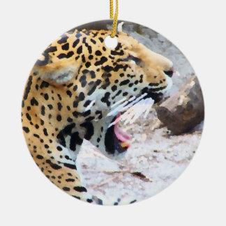 Spotted Jaguar painted image Christmas Tree Ornament