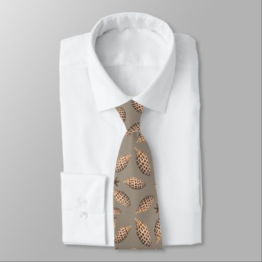 Beach Themed Spotted Junonia Seashell Pattern Neck Tie
