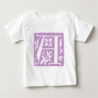 Spotted Lavender Letter A Monogram Baby T-Shirt