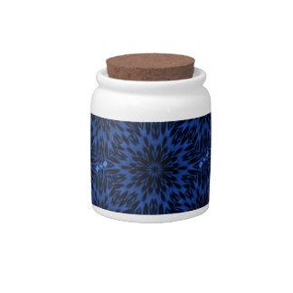 Spotted Leopard Blue Kaleidoscope Candy Jar