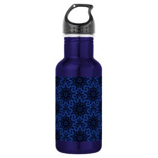 Spotted Leopard Blue Wild Cat Kaleidoscope Water Bottle