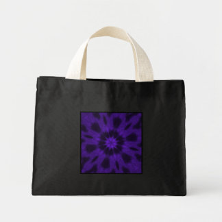 Spotted Leopard Purple Kaleidoscope Small Black Mini Tote Bag