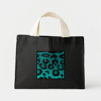 Spotted Leopard Teal Turquoise Small Black Mini Tote Bag