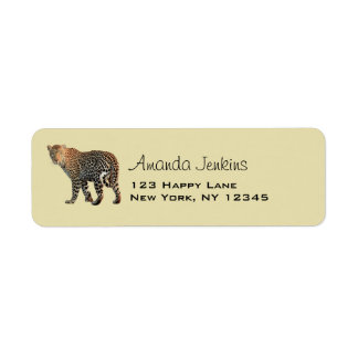 Spotted Leopard Wild Cat Photograph Label