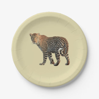 Spotted Leopard Wild Cat Photograph Paper Plate