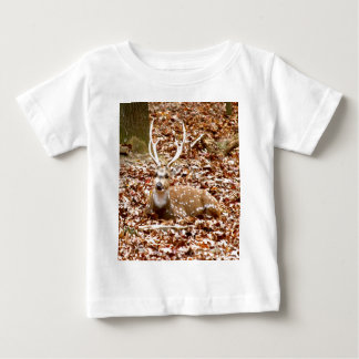 Spotted Male Buck Deer With Antlers in Fall Forest Baby T-Shirt