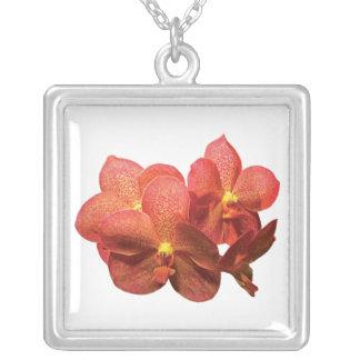 Spotted Orange Orchids Square Pendant Necklace