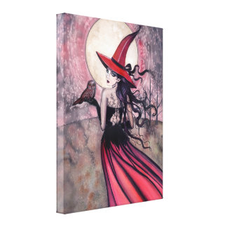 Spotted Owl and Witch Wrapped Canvas Print