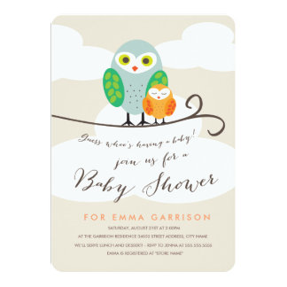 spotted owls baby shower invitation