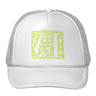 Spotted Pale Green Letter A Monogram Hats