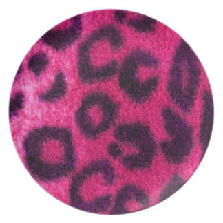 Spotted Pink Leopard Wild Cat Plate