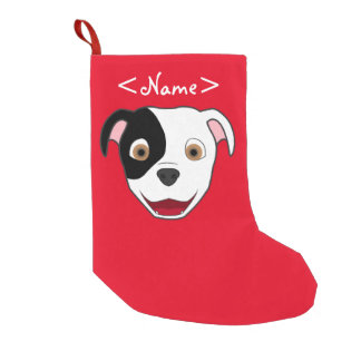 Spotted Pitbull Face Small Christmas Stocking