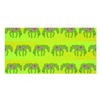 Spotted psychedelic horses card