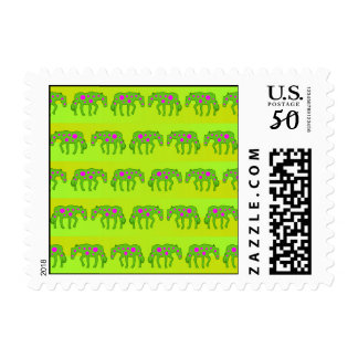Spotted psychedelic horses postage