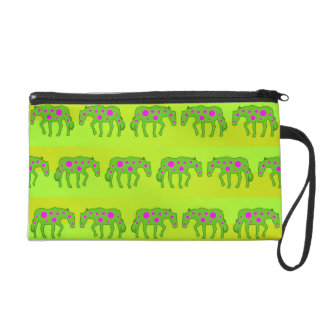 Spotted psychedelic horses wristlet