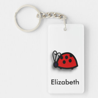 Spotted Red Ladybird Graphic Single-Sided Rectangular Acrylic Keychain