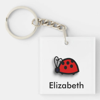 Spotted Red Ladybird Graphic Single-Sided Square Acrylic Keychain