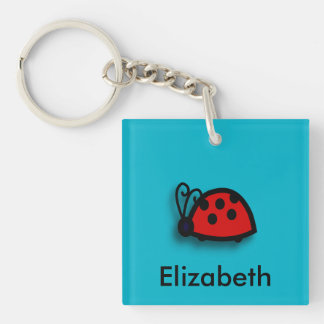 Spotted Red Ladybird Graphic Double-Sided Square Acrylic Keychain