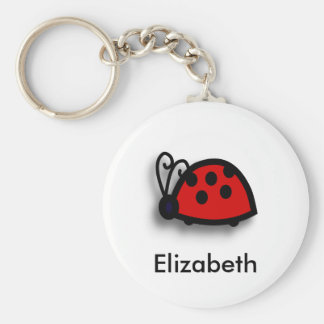 Spotted Red Ladybird Graphic Basic Round Button Keychain