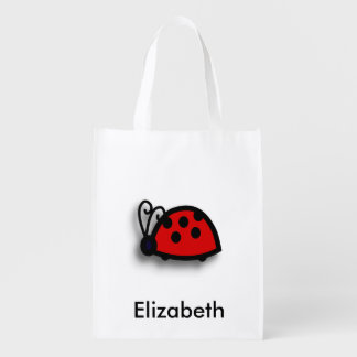 Spotted Red Ladybird Graphic Reusable Grocery Bag