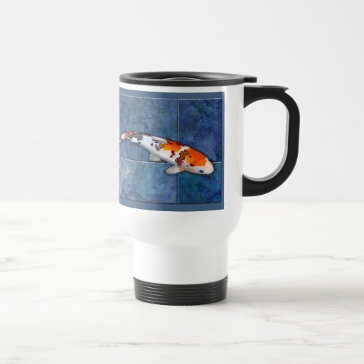 Spotted Sanke Koi in Tiled Pool with Dragonfly 15 Oz Stainless Steel Travel Mug