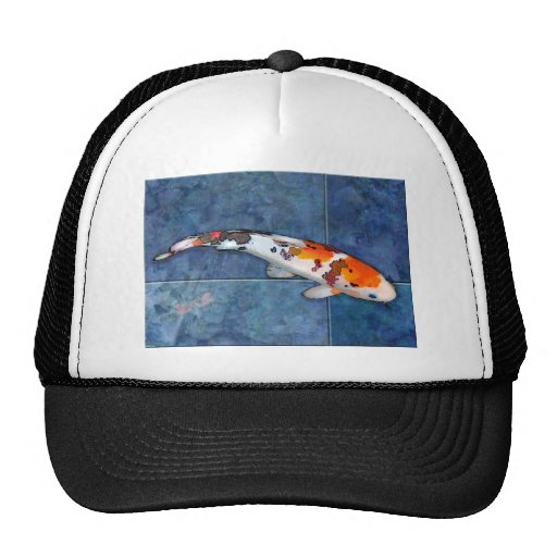 Spotted Sanke Koi in Tiled Pool with Dragonfly Hat