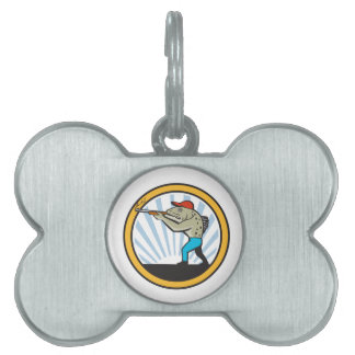 Spotted Sea Trout Hunter Shooting Circle Retro Pet ID Tag