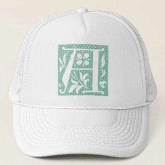 Spotted Seafoam Green Letter A Monogram Trucker Hat