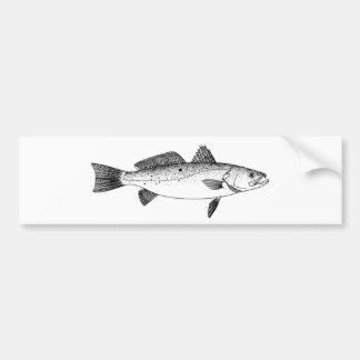 Spotted Seatrout - Speckled Trout Vintage Line Art Bumper Sticker