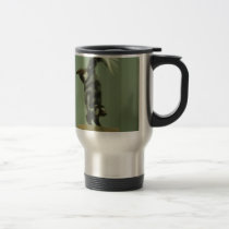 Spotted skunk; museum exhibit travel mug