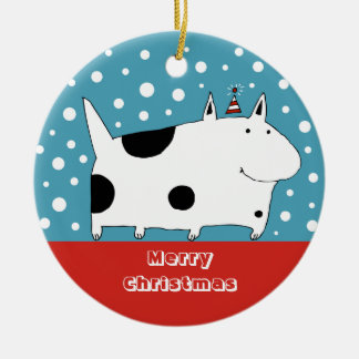 Spotted Snow Dog Christmas Ornament (Circle)