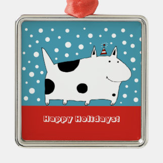 Spotted Snow Dog Christmas Ornament (Square)