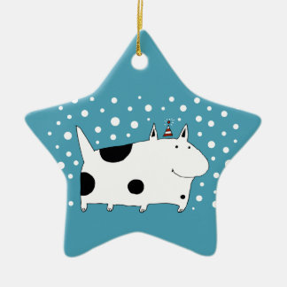 Spotted Snow Dog Christmas Ornament (Star)