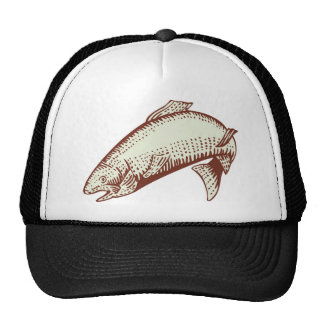spotted speckled trout fish woodcut mesh hats