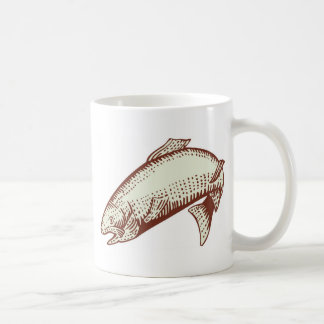 spotted speckled trout fish woodcut mug
