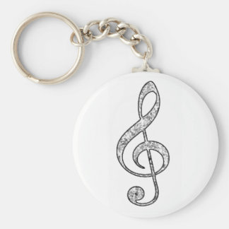 Spotted Treble Clef Basic Round Button Keychain