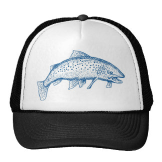 spotted trout fish jumping mesh hats