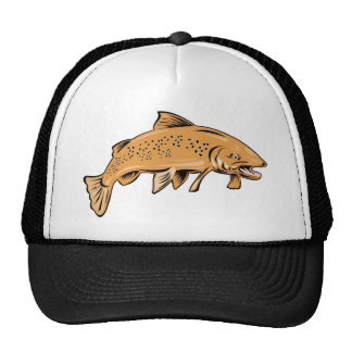 spotted trout fish jumping trucker hat