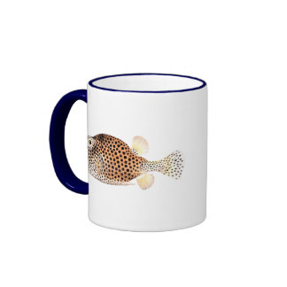 Spotted Trunkfish Vintage Fish Print - Double Fish Ringer Coffee Mug