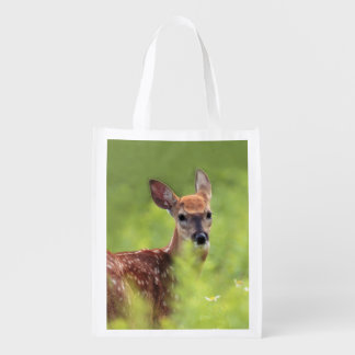 Spotted White-Tailed Deer Fawn in Wildflowers Grocery Bag