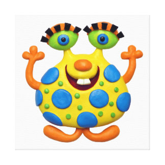 Spotted Yellow Monster Stretched Canvas Print