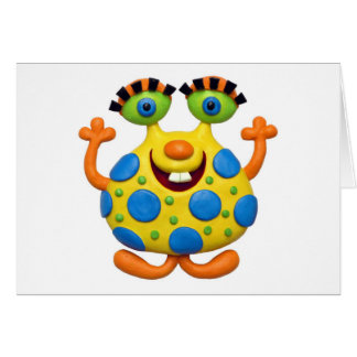 Spotted Yellow Monster Greeting Cards