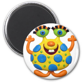 Spotted Yellow Monster 2 Inch Round Magnet