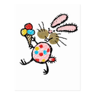 Spotty Bunny with Ice Cream Postcard