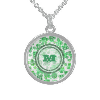 Spotty Distressed Green Monogram Sterling Silver Necklace