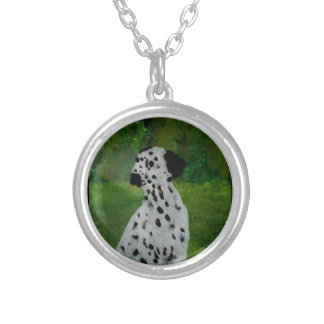 Spotty Dog Art Dalmatian Silver Plated Necklace