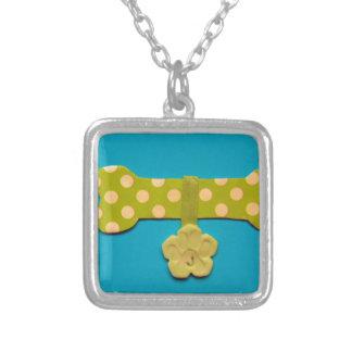 Spotty Dog bone - j.jpg Square Pendant Necklace
