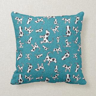 Spotty Dog Pattern on Blue Cushion Pillow